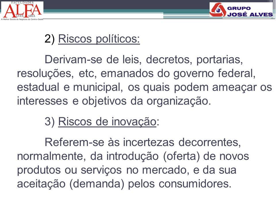2) Riscos políticos: Derivam-se de leis, decretos, portarias, resoluções, etc, emanados do governo federal, estadual e municipal, os quais podem ameaç