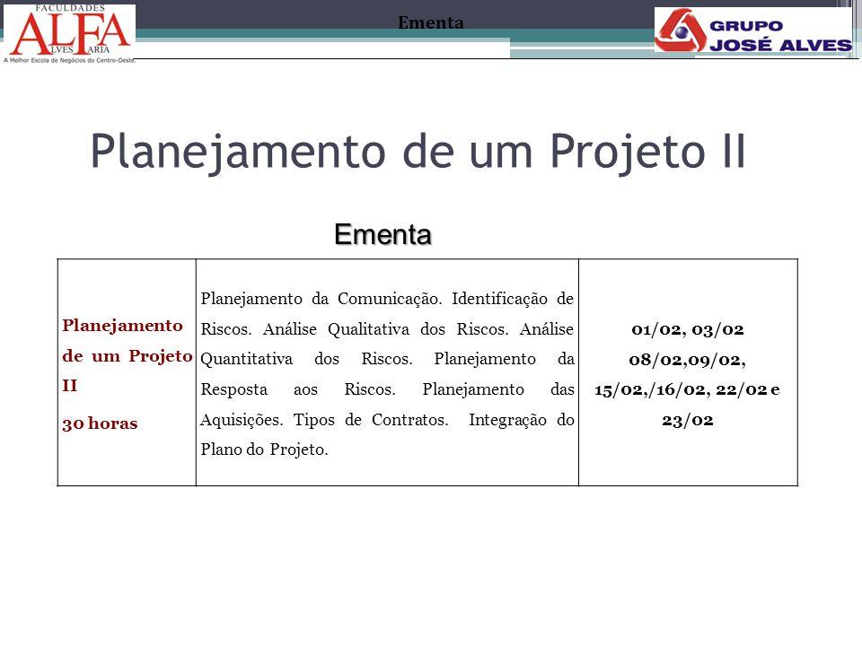 Planejamento de um Projeto II 30 horas Planejamento da Comunicação. Identificação de Riscos. Análise Qualitativa dos Riscos. Análise Quantitativa dos