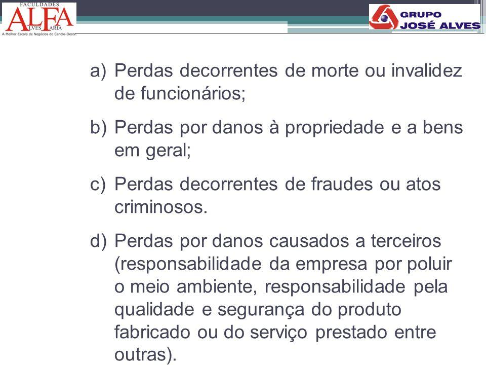 a)Perdas decorrentes de morte ou invalidez de funcionários; b)Perdas por danos à propriedade e a bens em geral; c)Perdas decorrentes de fraudes ou ato