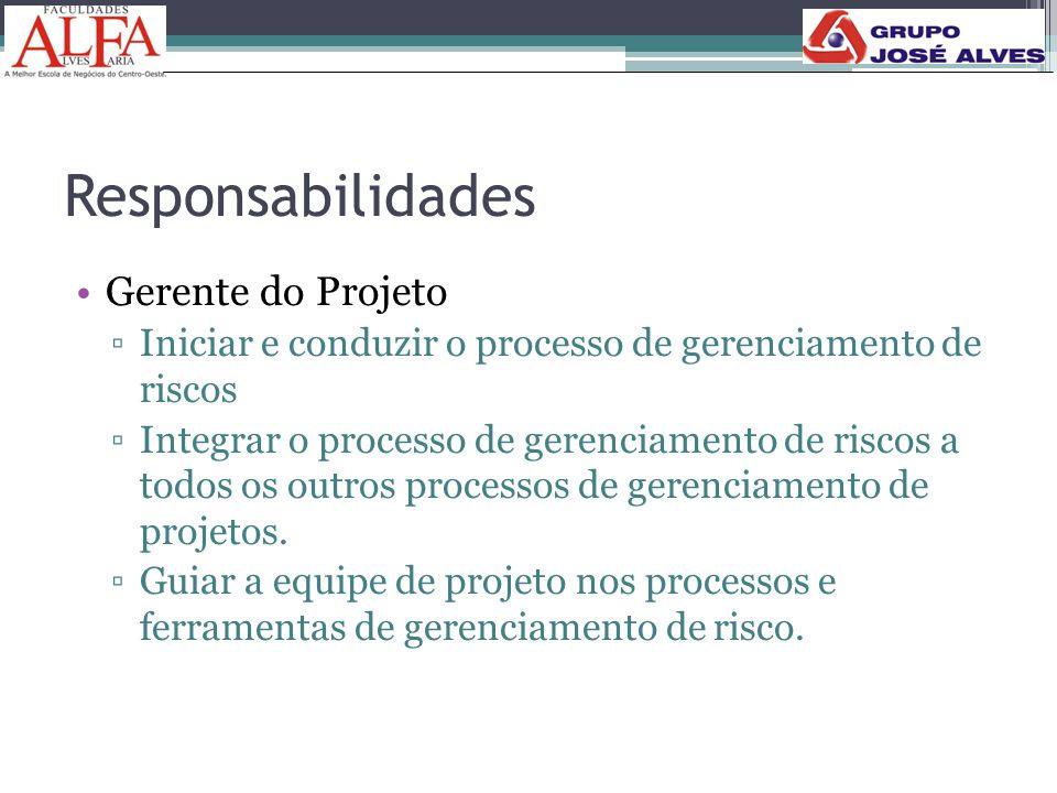 Responsabilidades •Gerente do Projeto ▫Iniciar e conduzir o processo de gerenciamento de riscos ▫Integrar o processo de gerenciamento de riscos a todo