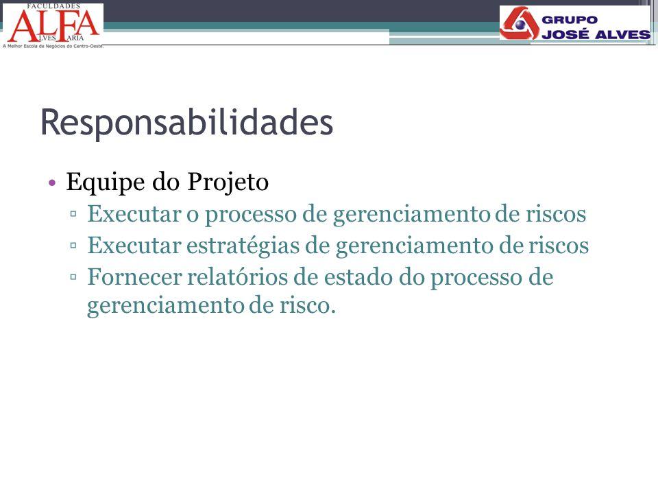 Responsabilidades •Equipe do Projeto ▫Executar o processo de gerenciamento de riscos ▫Executar estratégias de gerenciamento de riscos ▫Fornecer relató