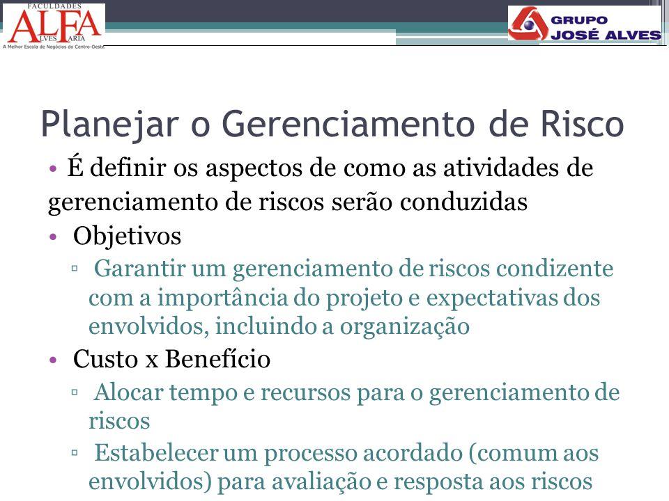 Planejar o Gerenciamento de Risco •É definir os aspectos de como as atividades de gerenciamento de riscos serão conduzidas • Objetivos ▫ Garantir um g