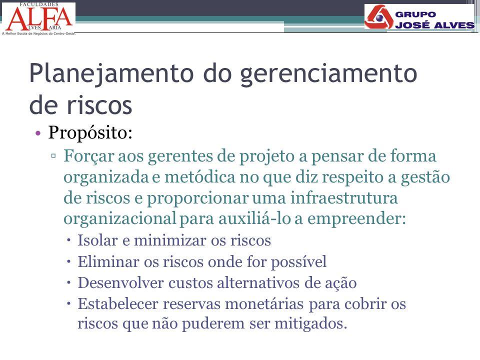 Planejamento do gerenciamento de riscos •Propósito: ▫Forçar aos gerentes de projeto a pensar de forma organizada e metódica no que diz respeito a gest