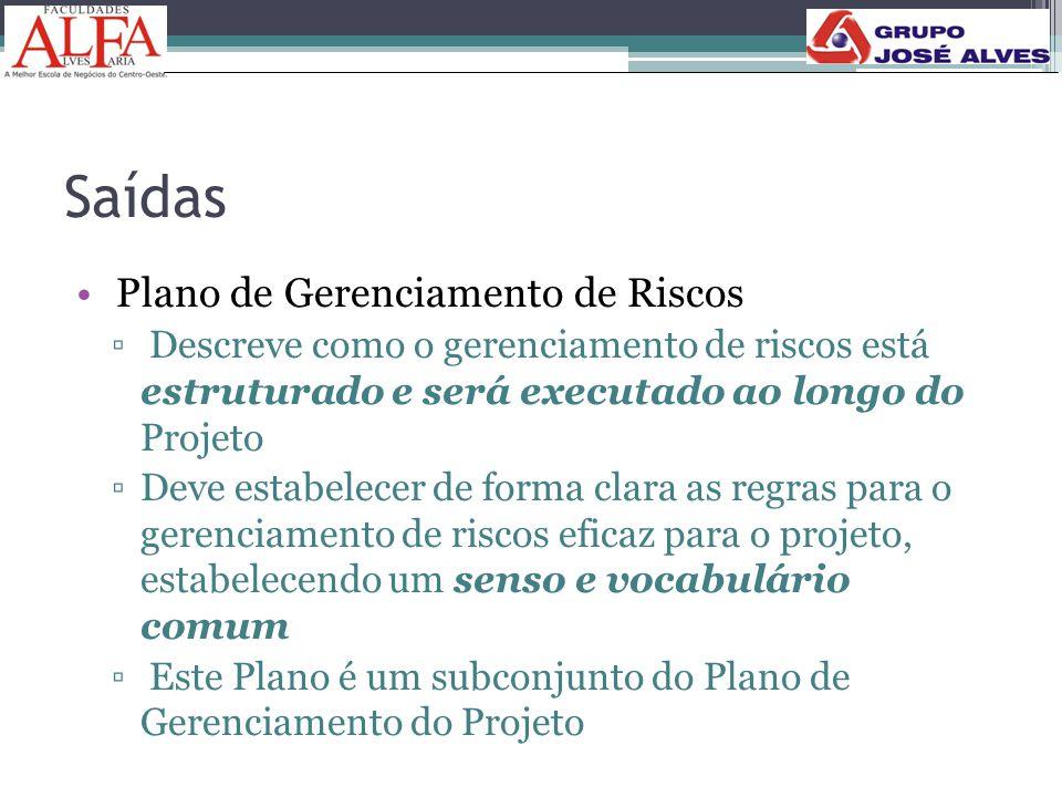 Saídas • Plano de Gerenciamento de Riscos ▫ Descreve como o gerenciamento de riscos está estruturado e será executado ao longo do Projeto ▫Deve estabe