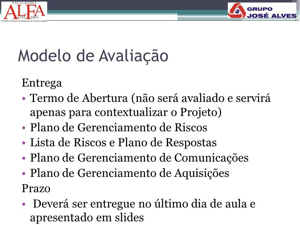 Modelo de Avaliação Entrega •Termo de Abertura (não será avaliado e servirá apenas para contextualizar o Projeto) •Plano de Gerenciamento de Riscos •L
