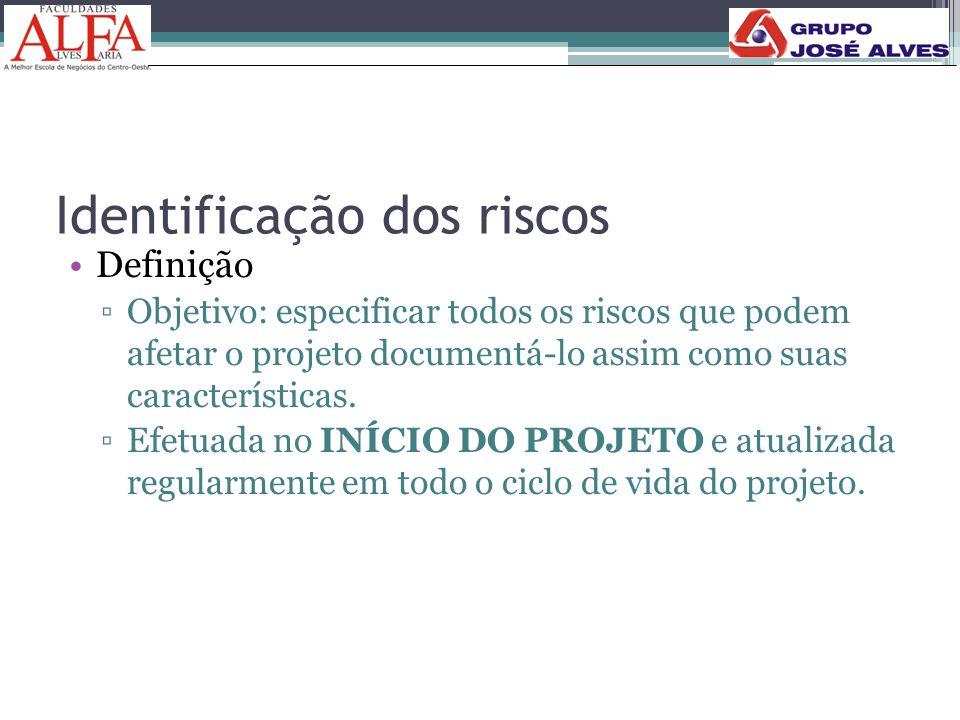 Identificação dos riscos •Definição ▫Objetivo: especificar todos os riscos que podem afetar o projeto documentá-lo assim como suas características. ▫E