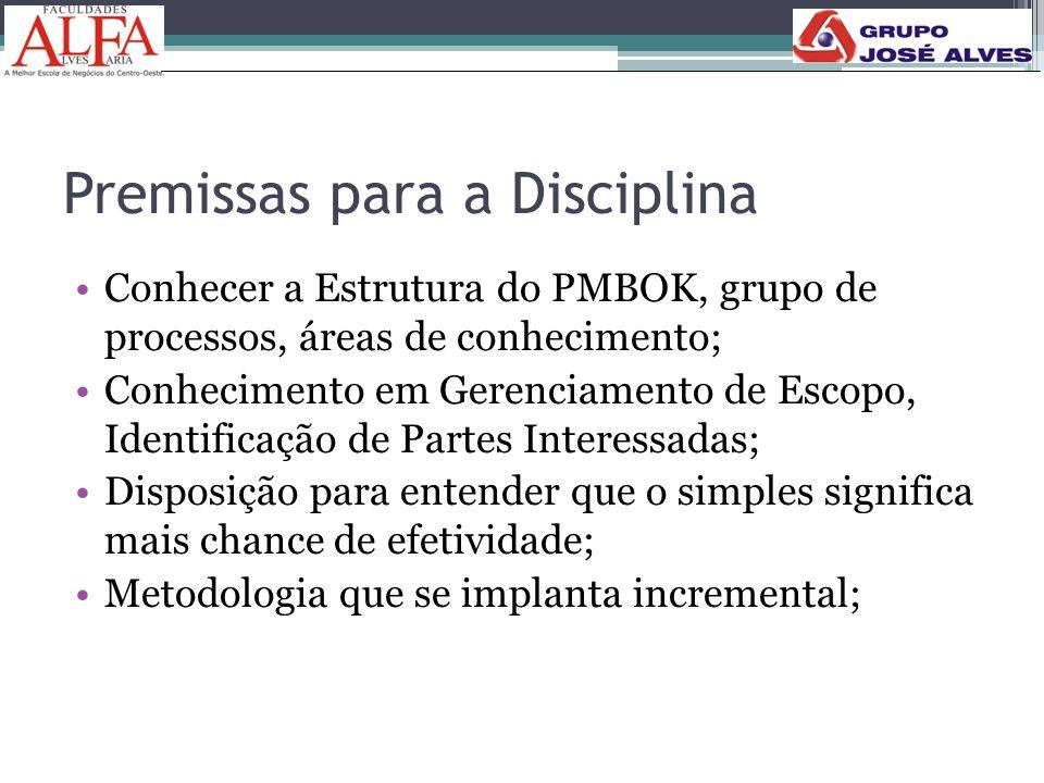 Premissas para a Disciplina •Conhecer a Estrutura do PMBOK, grupo de processos, áreas de conhecimento; •Conhecimento em Gerenciamento de Escopo, Ident