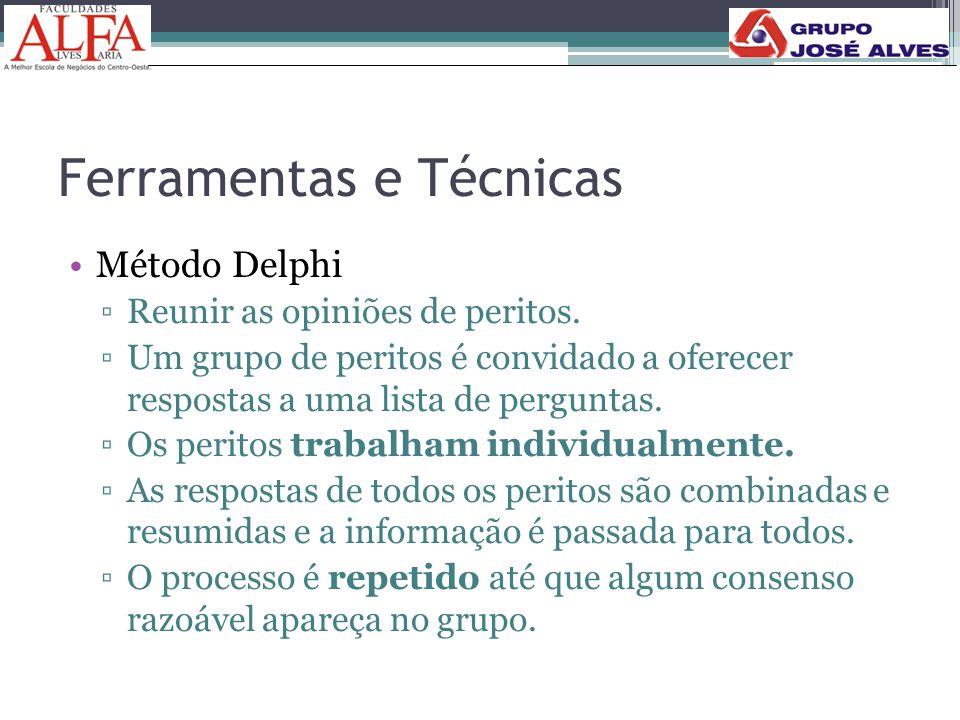 Ferramentas e Técnicas •Método Delphi ▫Reunir as opiniões de peritos. ▫Um grupo de peritos é convidado a oferecer respostas a uma lista de perguntas.