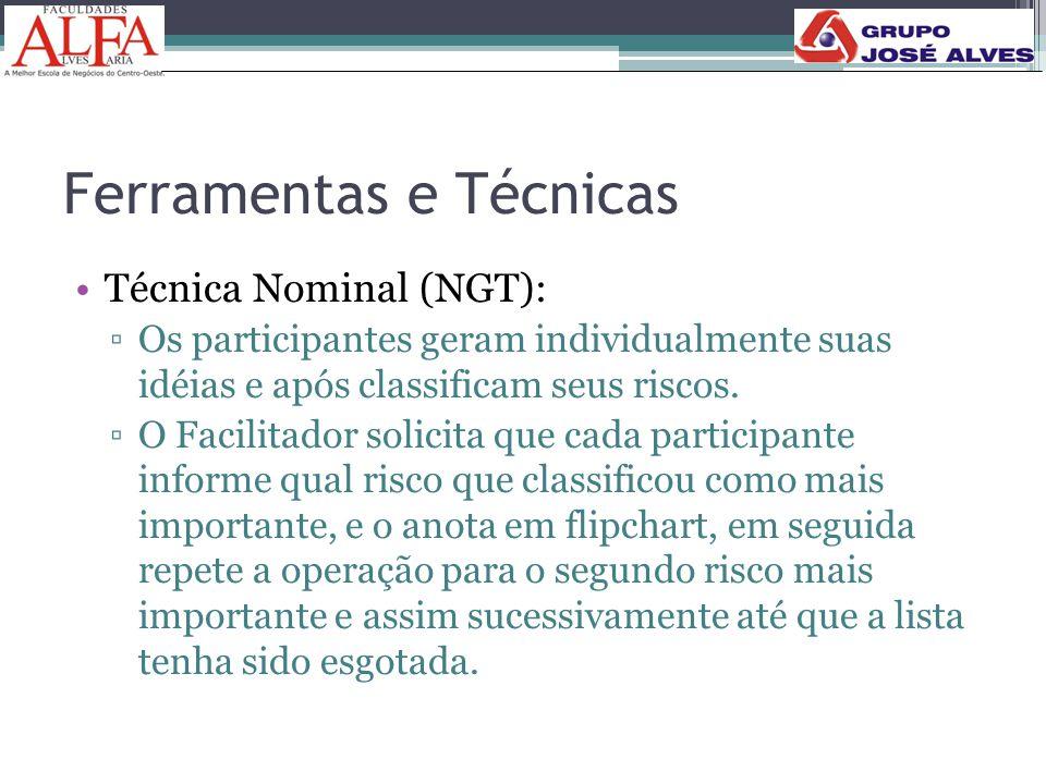 Ferramentas e Técnicas •Técnica Nominal (NGT): ▫Os participantes geram individualmente suas idéias e após classificam seus riscos. ▫O Facilitador soli