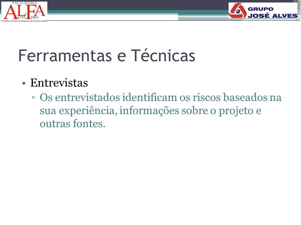 Ferramentas e Técnicas •Entrevistas ▫Os entrevistados identificam os riscos baseados na sua experiência, informações sobre o projeto e outras fontes.