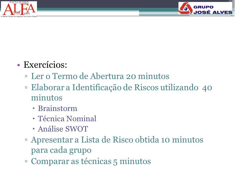 •Exercícios: ▫Ler o Termo de Abertura 20 minutos ▫Elaborar a Identificação de Riscos utilizando 40 minutos  Brainstorm  Técnica Nominal  Análise SW