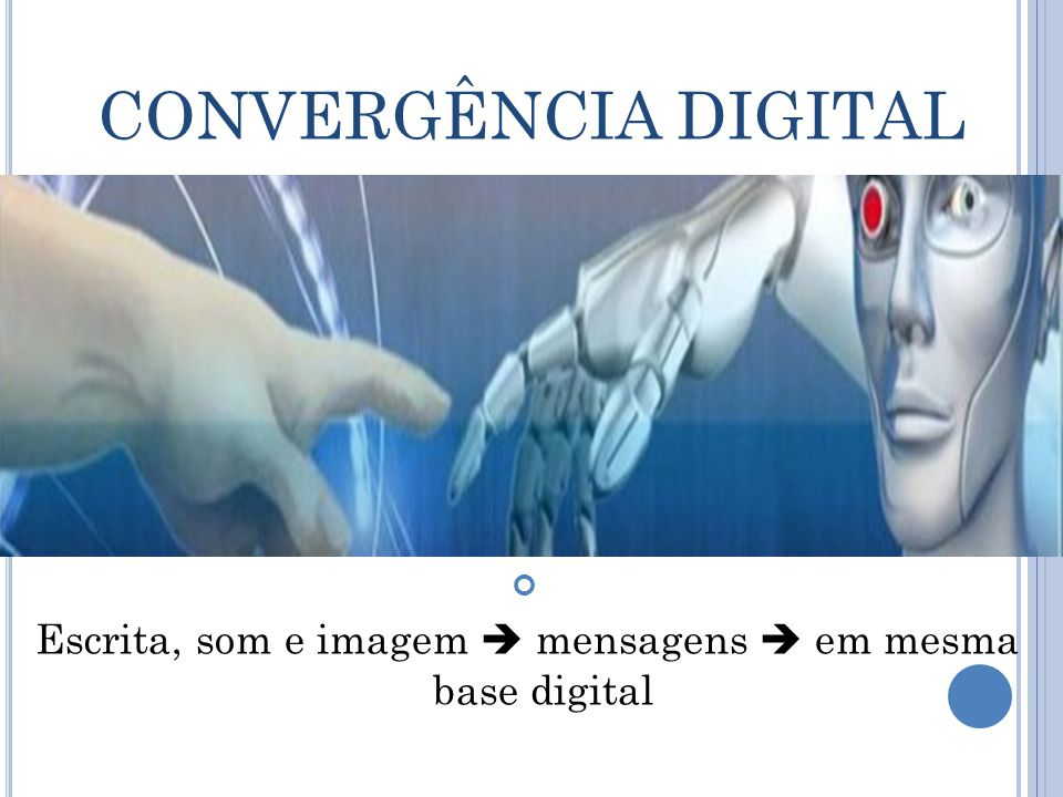 CONVERGÊNCIA DIGITAL Escrita, som e imagem  mensagens  em mesma base digital
