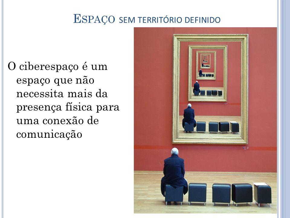 E SPAÇO SEM TERRITÓRIO DEFINIDO O ciberespaço é um espaço que não necessita mais da presença física para uma conexão de comunicação