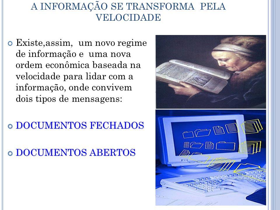 A INFORMAÇÃO SE TRANSFORMA PELA VELOCIDADE Existe,assim, um novo regime de informação e uma nova ordem econômica baseada na velocidade para lidar com a informação, onde convivem dois tipos de mensagens: DOCUMENTOS FECHADOS DOCUMENTOS ABERTOS