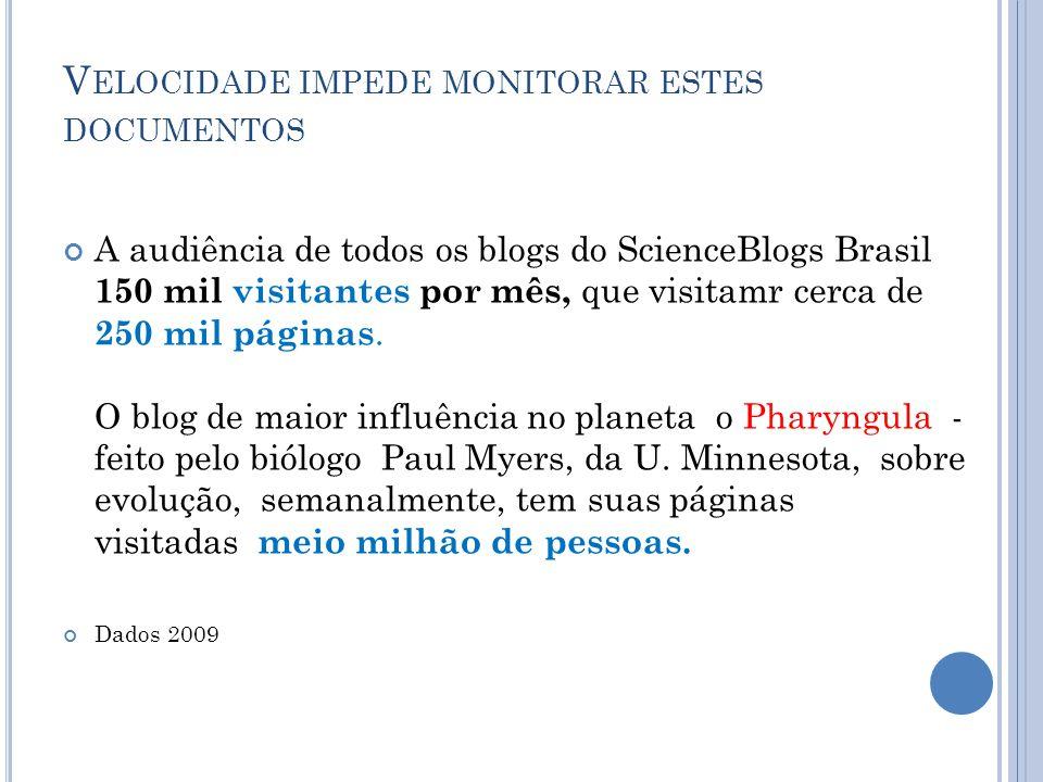 V ELOCIDADE IMPEDE MONITORAR ESTES DOCUMENTOS A audiência de todos os blogs do ScienceBlogs Brasil 150 mil visitantes por mês, que visitamr cerca de 250 mil páginas.