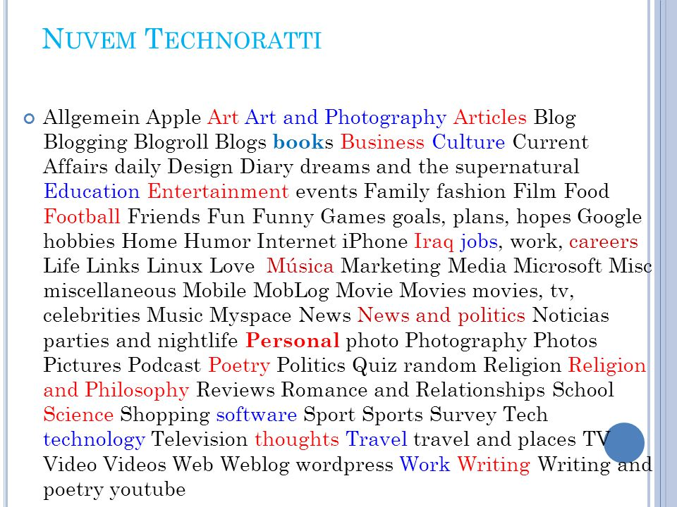 N UVEM T ECHNORATTI Allgemein Apple Art Art and Photography Articles Blog Blogging Blogroll Blogs book s Business Culture Current Affairs daily Design