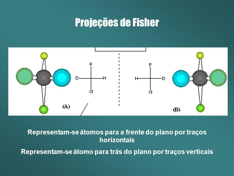 Projeções de Fisher Os substituintes são numerados de acordo com o número atômico