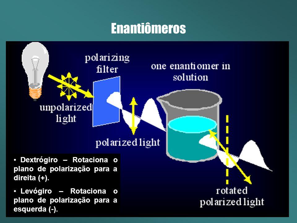 Enantiômeros A enantiomeria é uma conseqüência da diferença de arranjo espacial dos grupos ao redor do átomo central