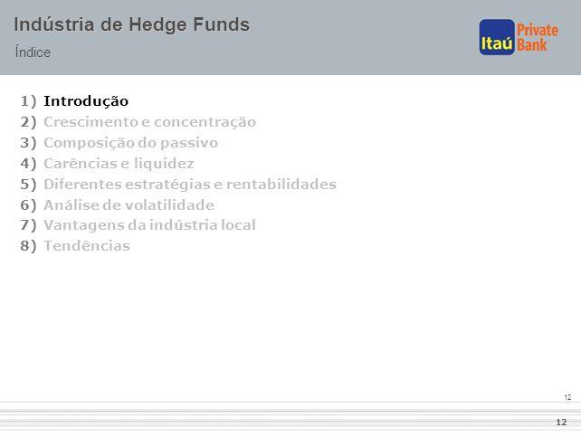 12 Indústria de Hedge Funds Índice 1)Introdução 2)Crescimento e concentração 3)Composição do passivo 4)Carências e liquidez 5)Diferentes estratégias e