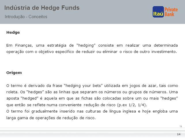 """14 Indústria de Hedge Funds Introdução - Conceitos Hedge Em Finanças, uma estratégia de """"hedging"""" consiste em realizar uma determinada operação com o"""