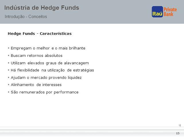 15 Indústria de Hedge Funds Introdução - Conceitos Hedge Funds - Características  Empregam o melhor e o mais brilhante  Buscam retornos absolutos 