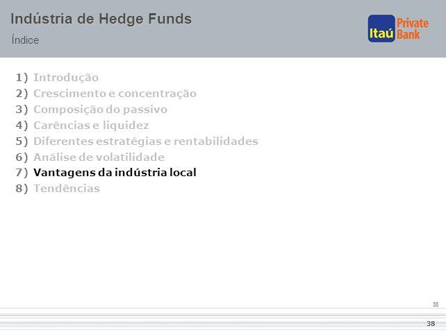 38 Indústria de Hedge Funds Índice 1)Introdução 2)Crescimento e concentração 3)Composição do passivo 4)Carências e liquidez 5)Diferentes estratégias e