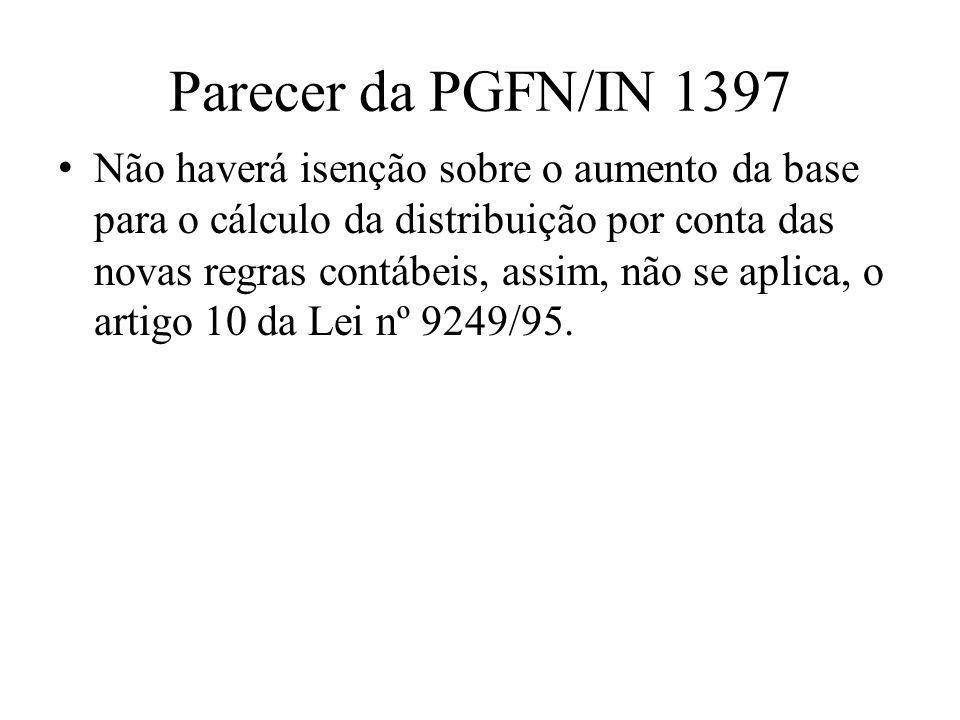 Parecer da PGFN/IN 1397 • Não haverá isenção sobre o aumento da base para o cálculo da distribuição por conta das novas regras contábeis, assim, não s