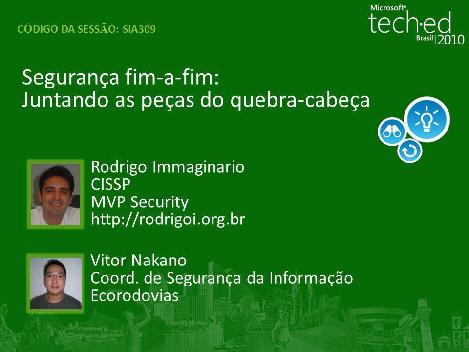 Segurança fim-a-fim: Juntando as peças do quebra-cabeça C Ó DIGO DA SESS Ã O: SIA309 Rodrigo Immaginario CISSP MVP Security http://rodrigoi.org.br Vit
