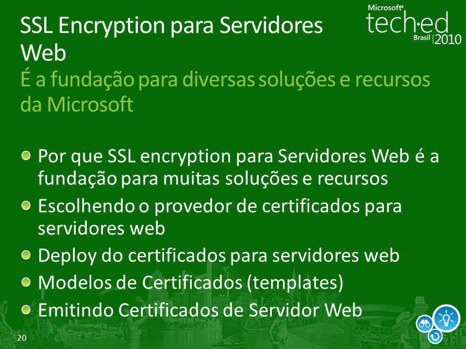 20 SSL Encryption para Servidores Web É a fundação para diversas soluções e recursos da Microsoft Por que SSL encryption para Servidores Web é a funda