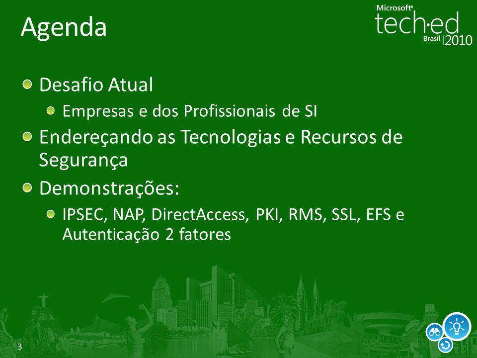 3 Agenda Desafio Atual Empresas e dos Profissionais de SI Endereçando as Tecnologias e Recursos de Segurança Demonstrações: IPSEC, NAP, DirectAccess,