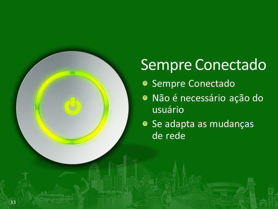 33 Sempre Conectado Não é necessário ação do usuário Se adapta as mudanças de rede