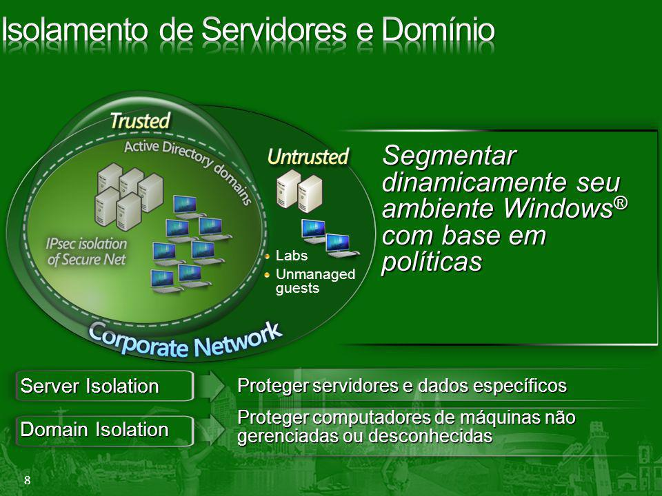 8 Segmentar dinamicamente seu ambiente Windows ® com base em políticas Labs Unmanaged guests Server Isolation Domain Isolation Proteger computadores d