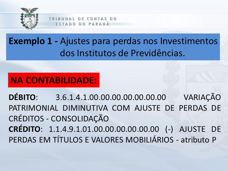 Exemplo 1 - Ajustes para perdas nos Investimentos dos Institutos de Previdências. NA CONTABILIDADE: DÉBITO: 3.6.1.4.1.00.00.00.00.00.00.00 VARIAÇÃO PA