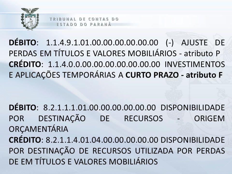 DÉBITO: 1.1.4.9.1.01.00.00.00.00.00.00 (-) AJUSTE DE PERDAS EM TÍTULOS E VALORES MOBILIÁRIOS - atributo P CRÉDITO: 1.1.4.0.0.00.00.00.00.00.00.00 INVESTIMENTOS E APLICAÇÕES TEMPORÁRIAS A CURTO PRAZO - atributo F DÉBITO: 8.2.1.1.1.01.00.00.00.00.00.00 DISPONIBILIDADE POR DESTINAÇÃO DE RECURSOS - ORIGEM ORÇAMENTÁRIA CRÉDITO: 8.2.1.1.4.01.04.00.00.00.00.00 DISPONIBILIDADE POR DESTINAÇÃO DE RECURSOS UTILIZADA POR PERDAS DE EM TÍTULOS E VALORES MOBILIÁRIOS