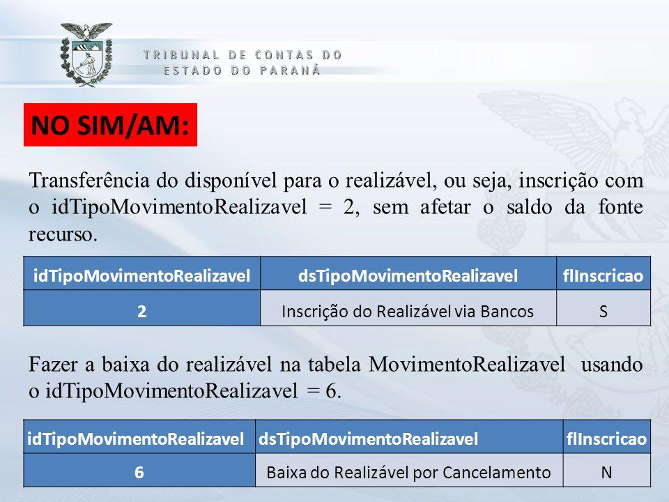 NO SIM/AM: idTipoMovimentoRealizaveldsTipoMovimentoRealizavelflInscricao 2Inscrição do Realizável via BancosS Transferência do disponível para o reali