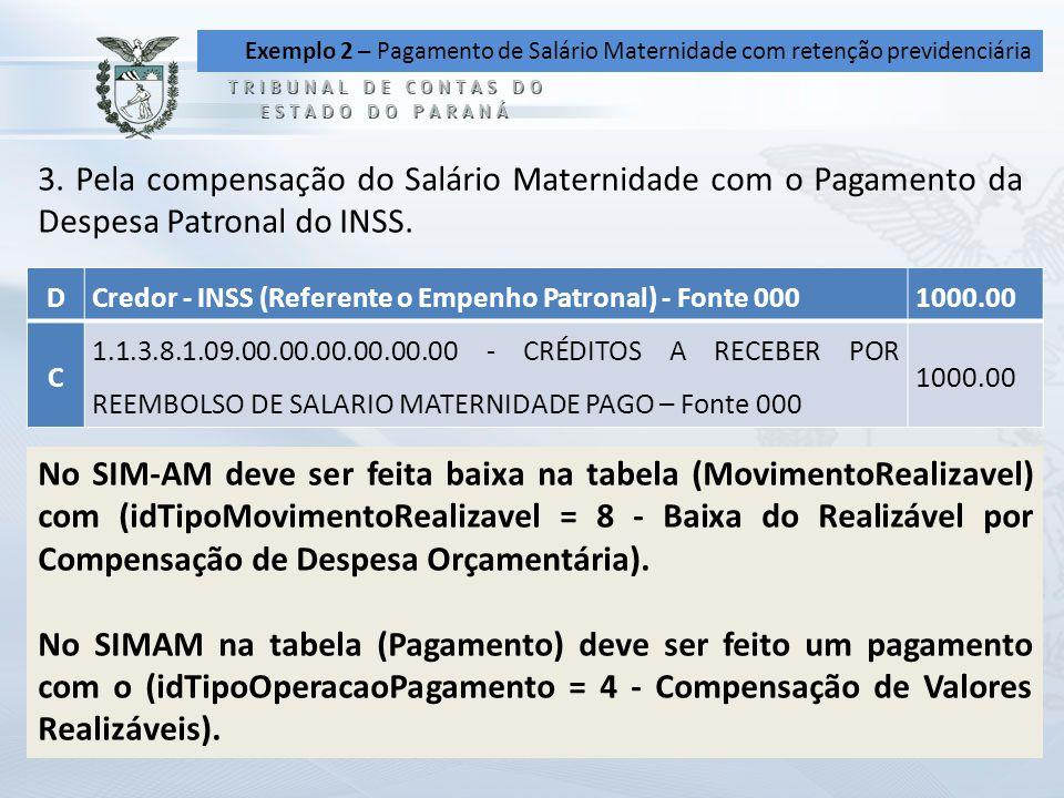 Exemplo 2 – Pagamento de Salário Maternidade com retenção previdenciária 3. Pela compensação do Salário Maternidade com o Pagamento da Despesa Patrona