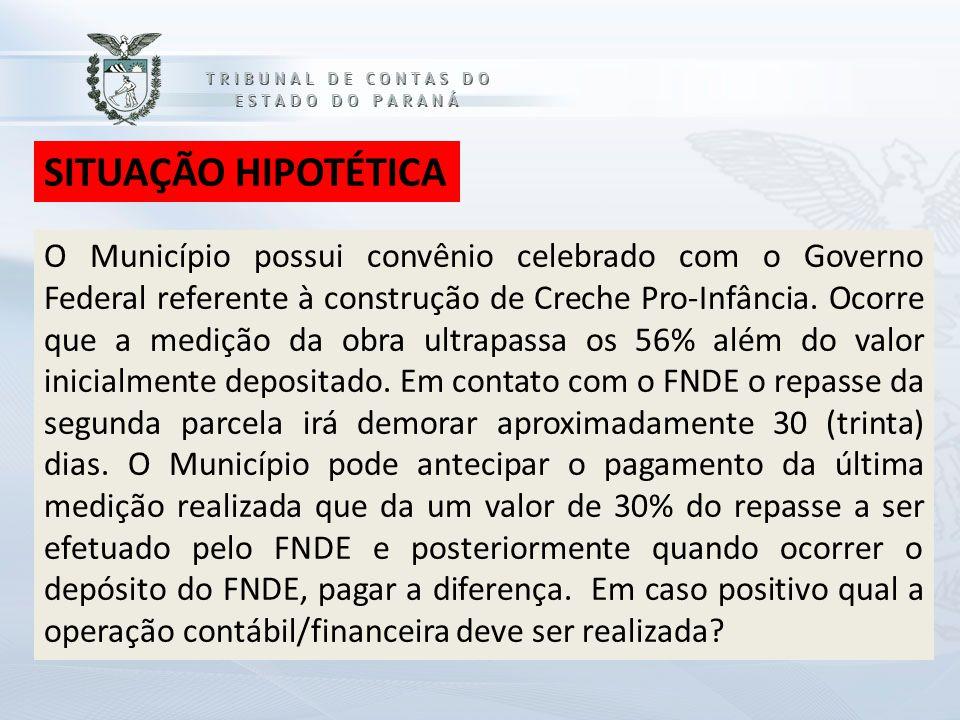 SITUAÇÃO HIPOTÉTICA O Município possui convênio celebrado com o Governo Federal referente à construção de Creche Pro-Infância.