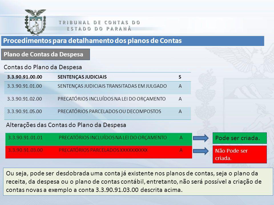 Procedimentos para detalhamento dos planos de Contas Plano de Contas da Despesa 3.3.90.91.00.00SENTENÇAS JUDICIAISS 3.3.90.91.01.00SENTENÇAS JUDICIAIS