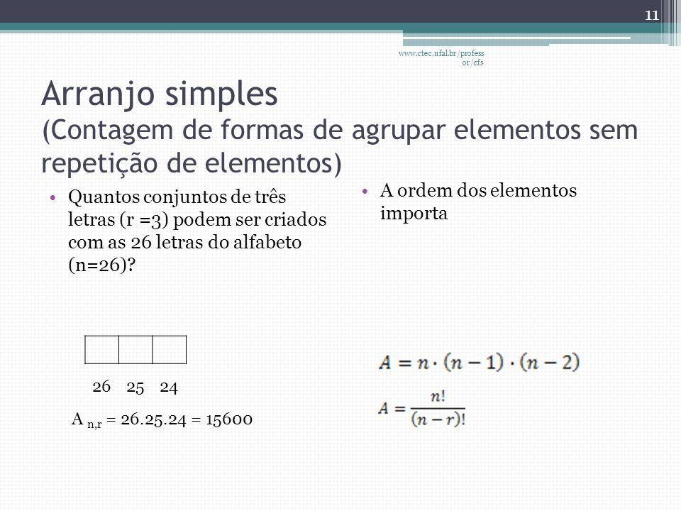 Arranjo simples (Contagem de formas de agrupar elementos sem repetição de elementos) •Quantos conjuntos de três letras (r =3) podem ser criados com as