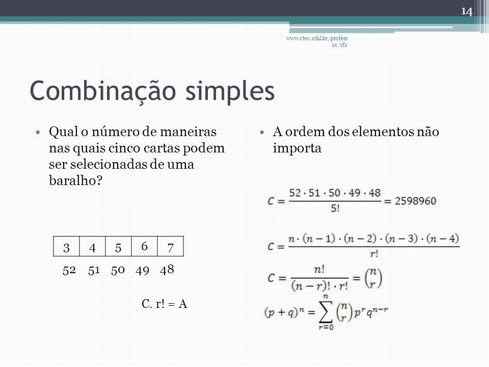 Combinação simples •Qual o número de maneiras nas quais cinco cartas podem ser selecionadas de uma baralho? •A ordem dos elementos não importa 14 www.
