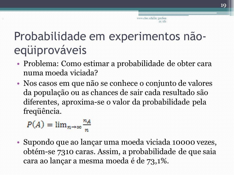 Probabilidade em experimentos não- eqüiprováveis •Problema: Como estimar a probabilidade de obter cara numa moeda viciada? •Nos casos em que não se co