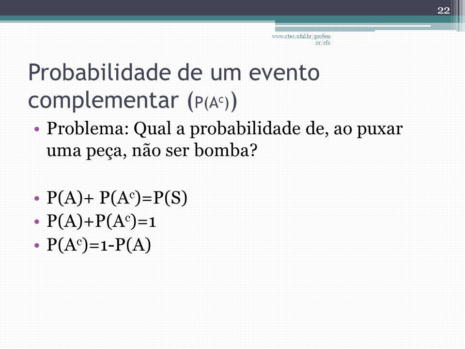 Probabilidade de um evento complementar ( P(A c ) ) •Problema: Qual a probabilidade de, ao puxar uma peça, não ser bomba? •P(A)+ P(A c )=P(S) •P(A)+P(