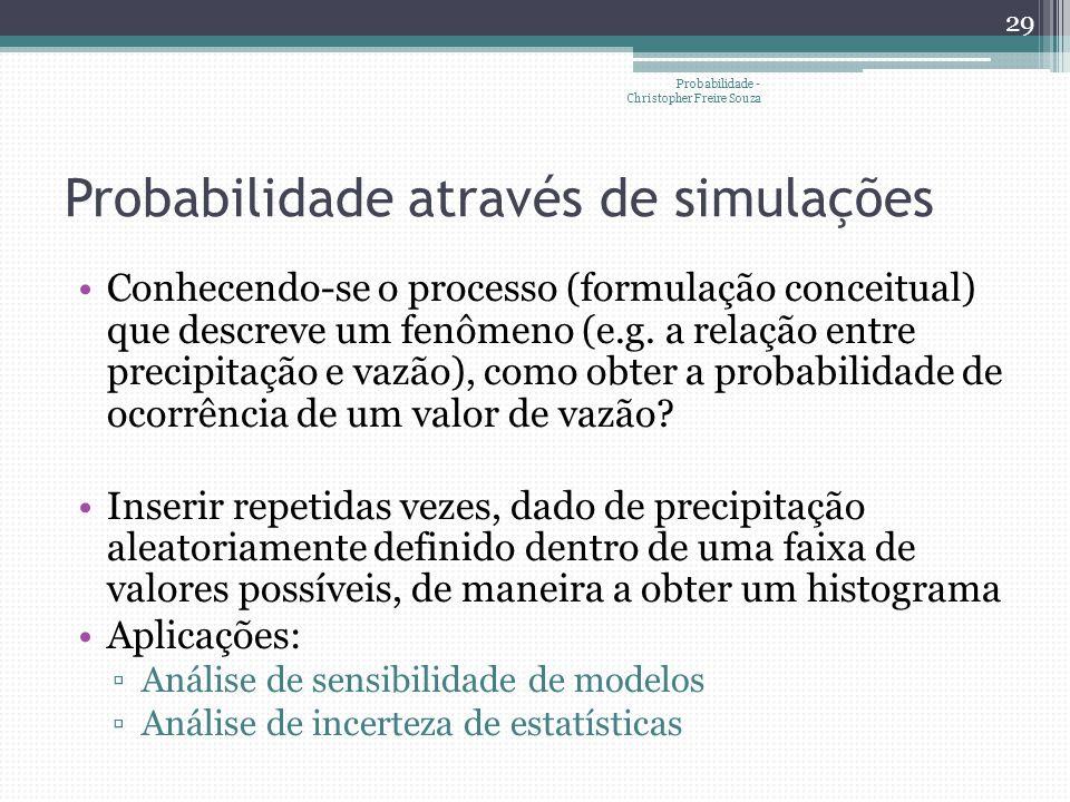 Probabilidade através de simulações •Conhecendo-se o processo (formulação conceitual) que descreve um fenômeno (e.g. a relação entre precipitação e va