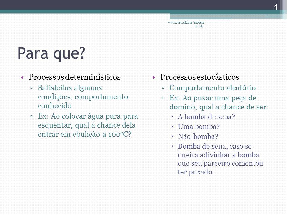 Probabilidade •Técnica matemática aplicada para medir a chance de ocorrência de um evento 5 www.ctec.ufal.br/profess or/cfs
