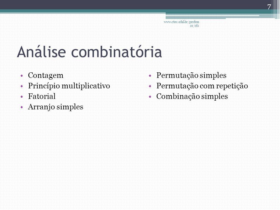 Análise combinatória •Contagem •Princípio multiplicativo •Fatorial •Arranjo simples •Permutação simples •Permutação com repetição •Combinação simples