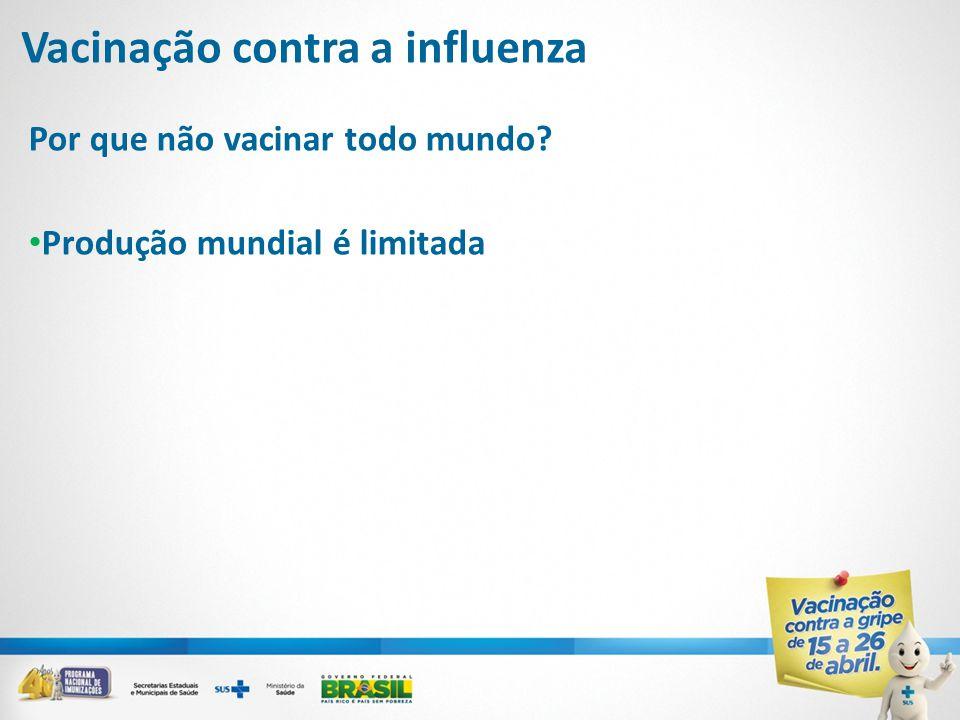Por que não vacinar todo mundo? • Produção mundial é limitada Vacinação contra a influenza