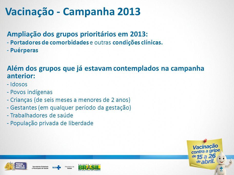 Ampliação dos grupos prioritários em 2013: - Portadores de comorbidades e outras condições clínicas. - Puérperas Além dos grupos que já estavam contem