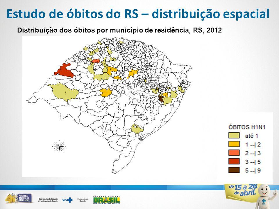 Estudo de óbitos do RS – distribuição espacial Distribuição dos óbitos por município de residência, RS, 2012