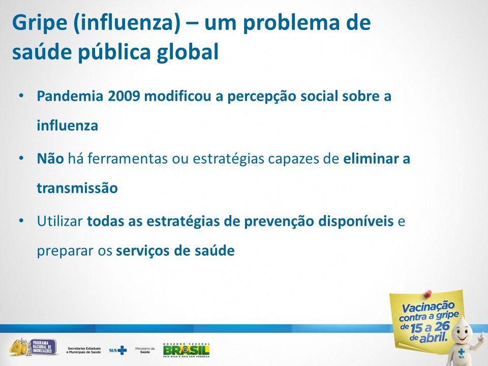 Gripe (influenza) – um problema de saúde pública global • Pandemia 2009 modificou a percepção social sobre a influenza • Não há ferramentas ou estratégias capazes de eliminar a transmissão • Utilizar todas as estratégias de prevenção disponíveis e preparar os serviços de saúde
