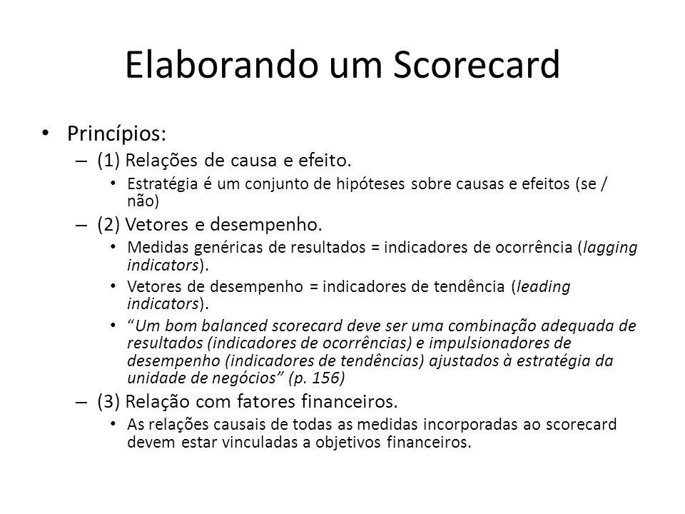 Elaborando um Scorecard • Princípios: – (1) Relações de causa e efeito. • Estratégia é um conjunto de hipóteses sobre causas e efeitos (se / não) – (2